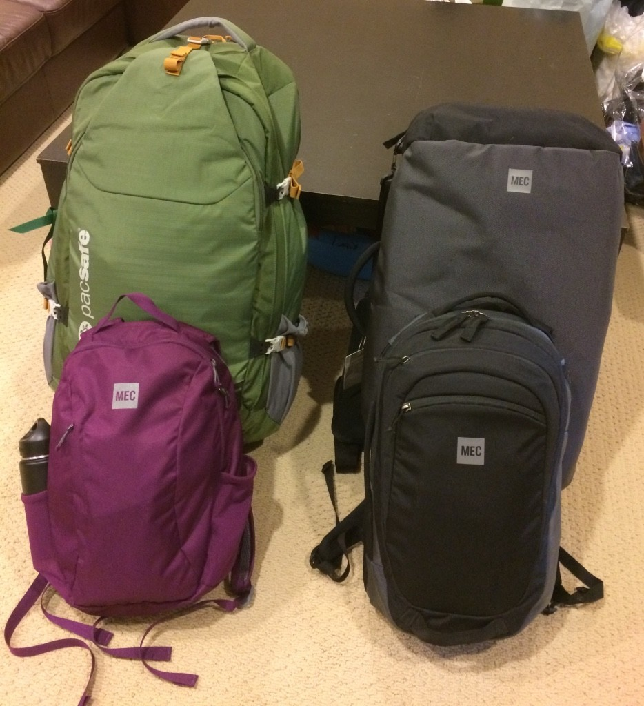 My bags (Pacsafe Venturesafe 65L and MEC day pack) on the left and Tim's on the right (MEC 40L Fast-Track Duffle and day pack)