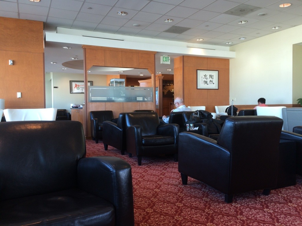 EVA Air's lounge at SFO, a bit ghetto looking compared to other airlines