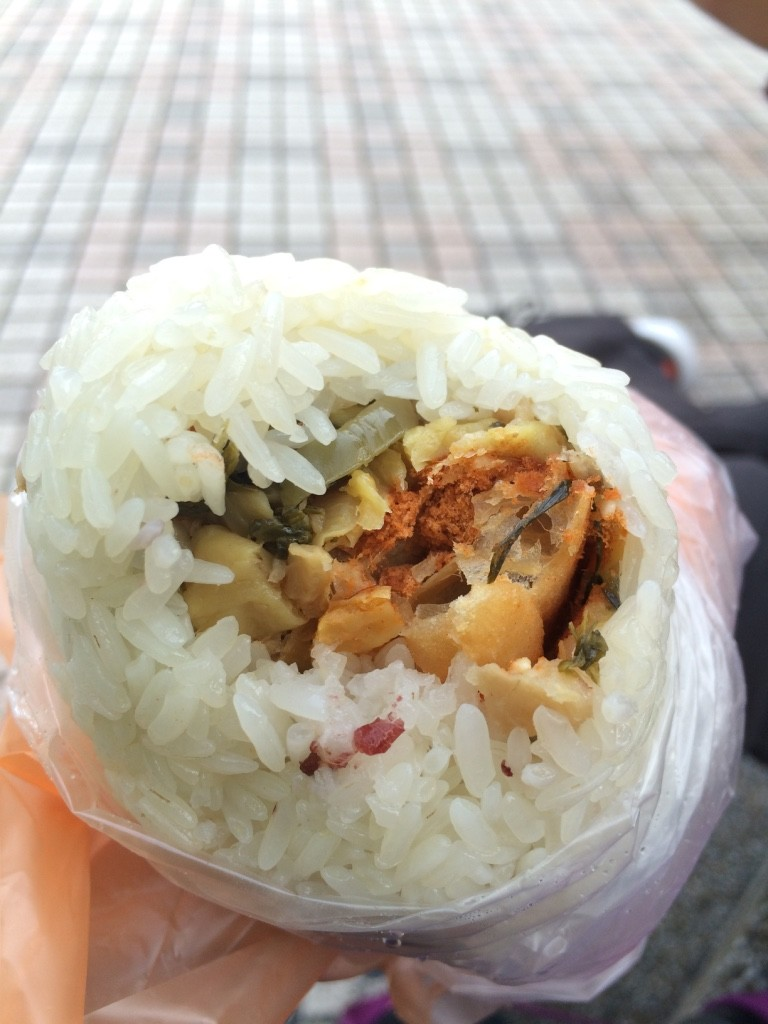 Sticky rice roll with preserved vegetables, pork floss and Chinese doughnut (30 NT = $1.20)