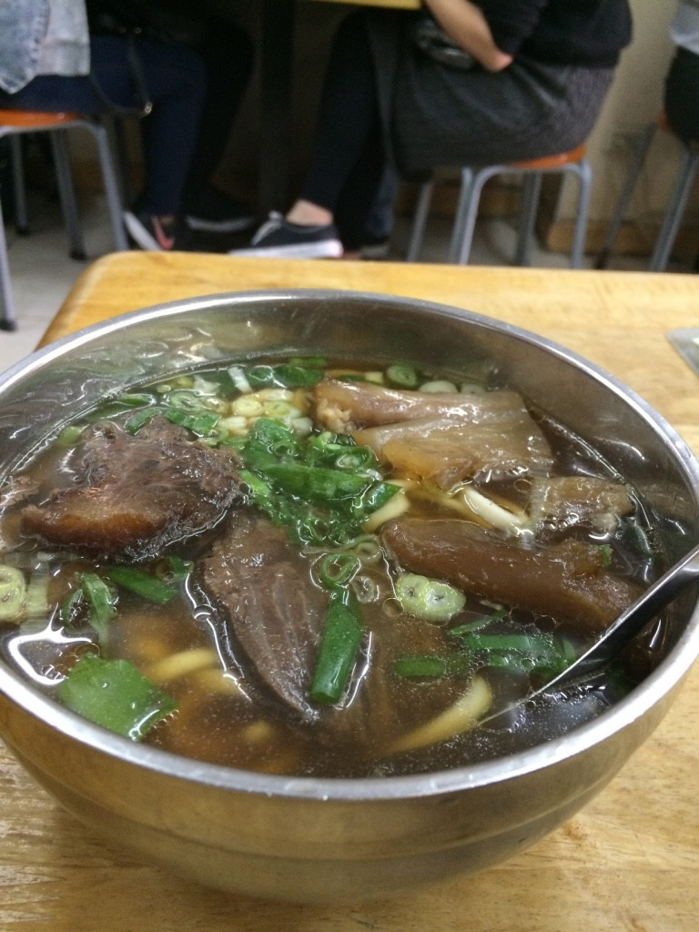 "Small beef and tendon noodle soup at Lin Dong Fang (200NT = $8.20 CAD, without tendon was 150 NT = $6.15 CAD). Pricey, but ""that's the price of fame"" , says Tim."