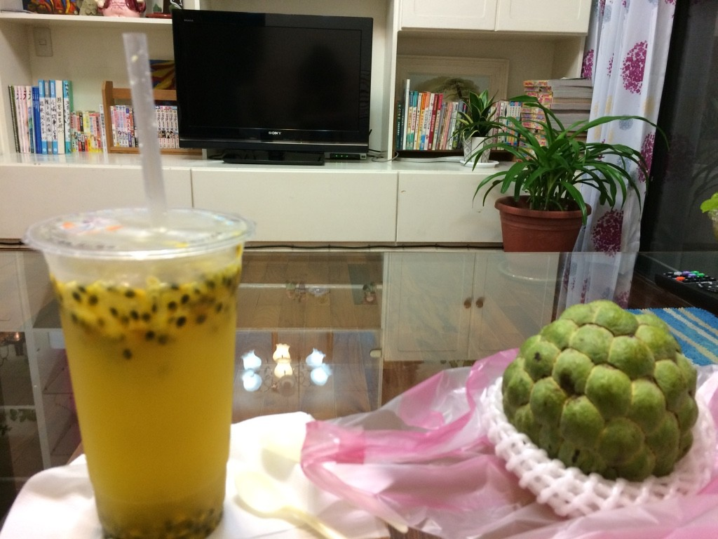 Passionfruit lime juice and custard apple