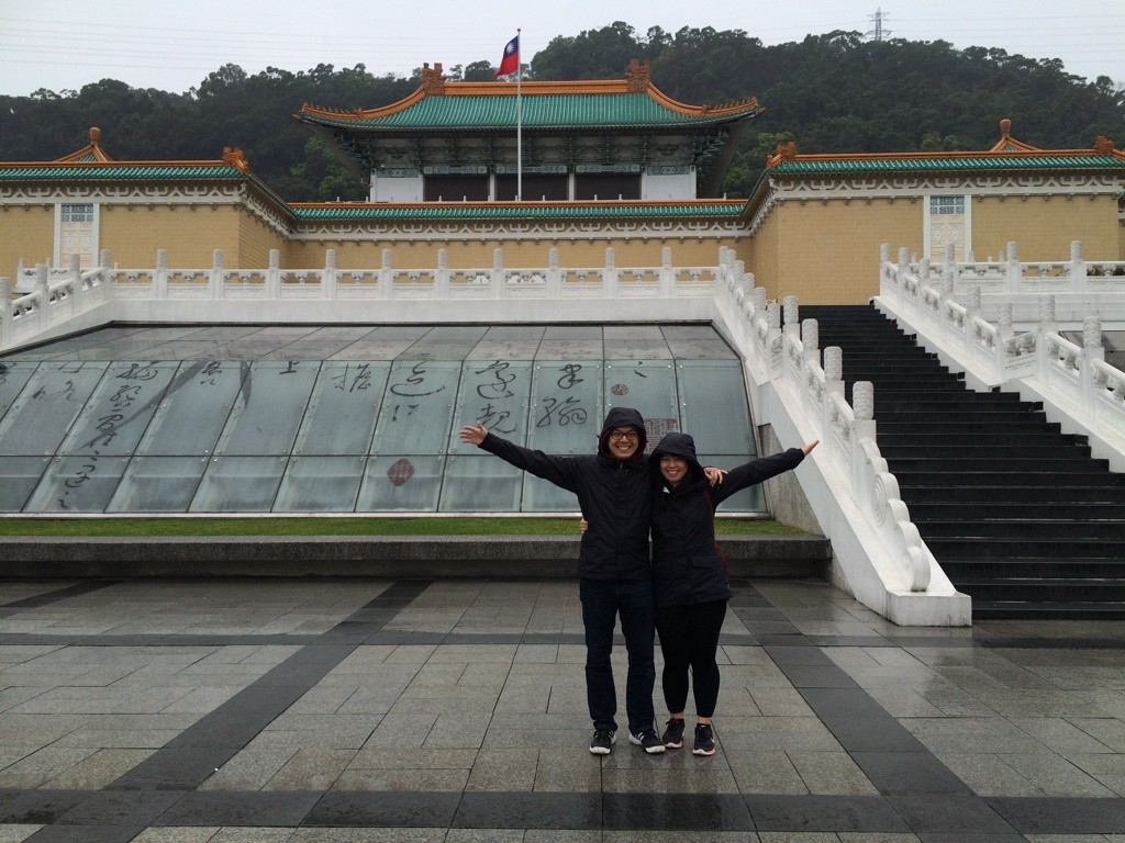 Posing outside the National Palace Museum like the other tourists