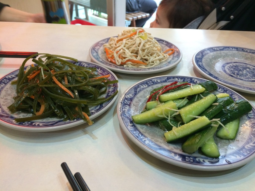 "Our side dishes: seaweed, bean curd ""noodles"", cucumbers (30 NT each = $1.22 CAD)"