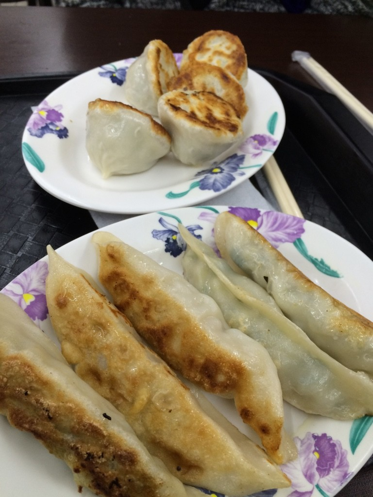 Pan fried dumplings and potstickers (30 NT each = $1.22 CAD)