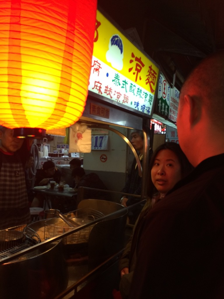 Karen ordering the stinky tofu for us