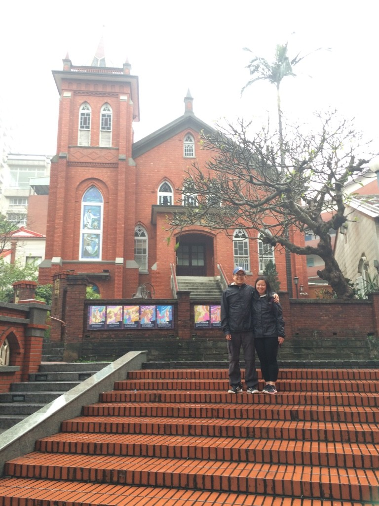 Us in front of the church, we took one in 2013 last time we came as well