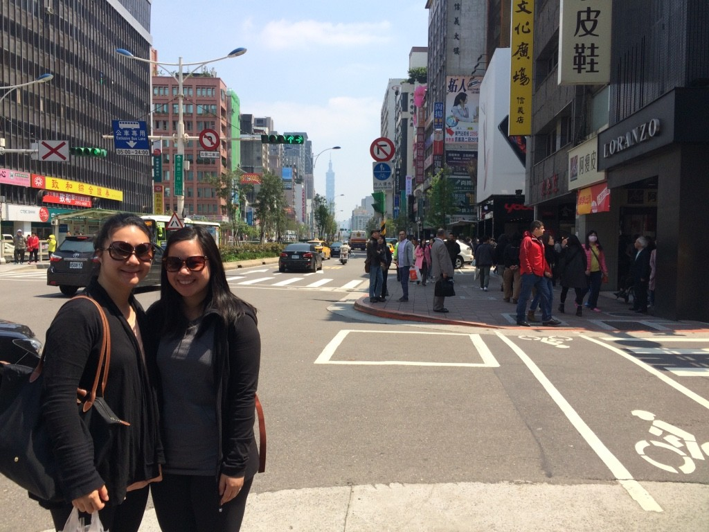 My sister and I at the foot of the busy part of Yong Kang with Taipei 101 in the background. I miss her already!