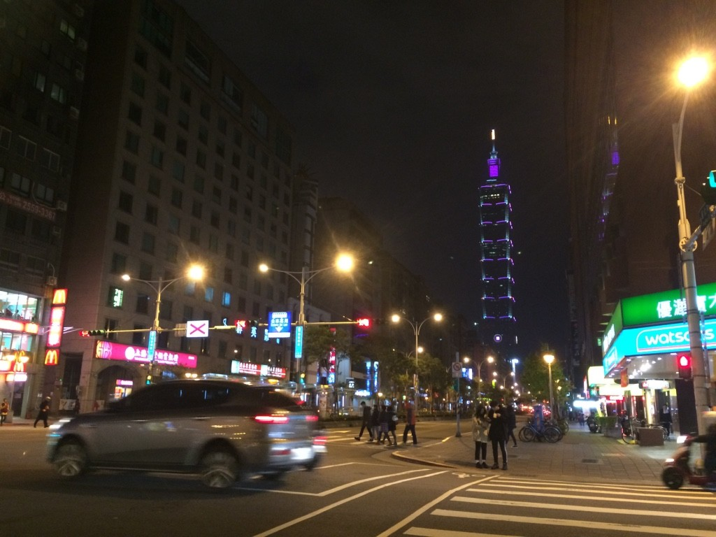 Our walk towards Tonghua. Taipei 101 is lit up nicely