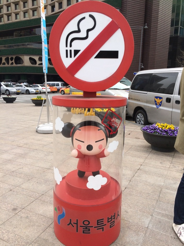 These are useful since there are a lot of smokers in Seoul