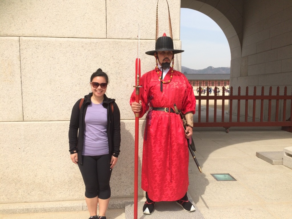 With one of the guards