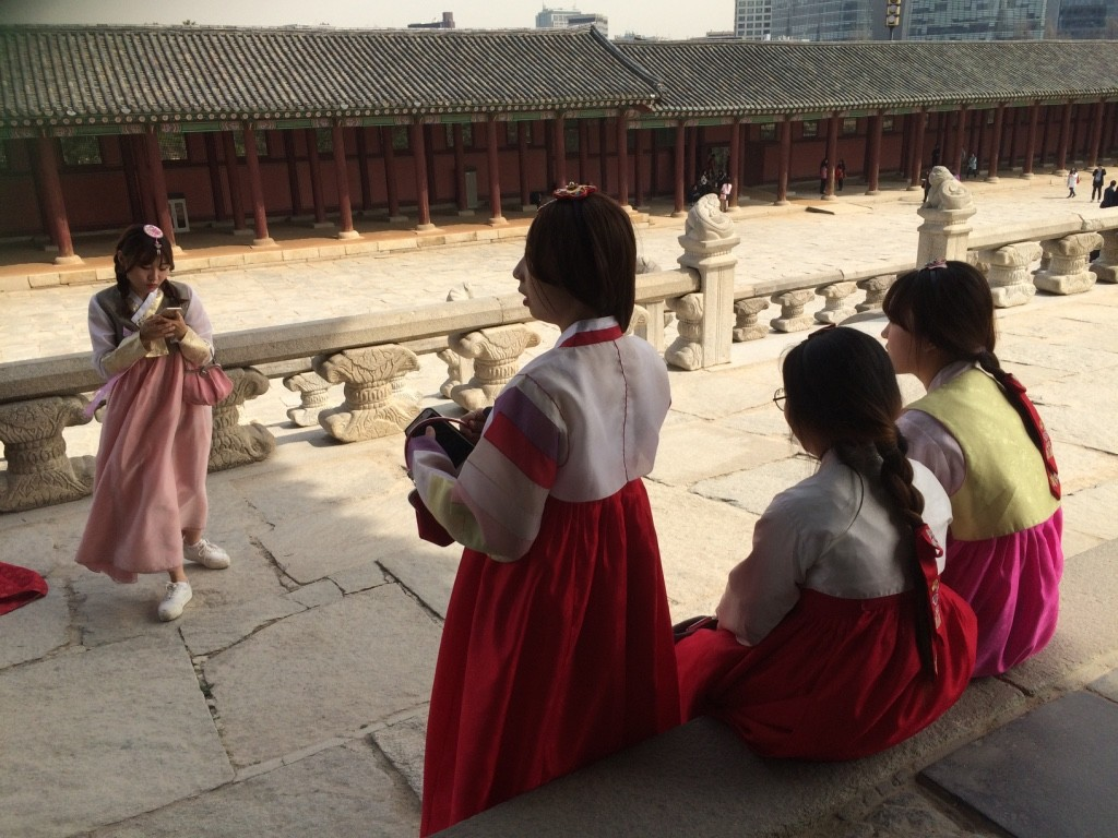 Girls wearing Hanboks (Korean dresses)