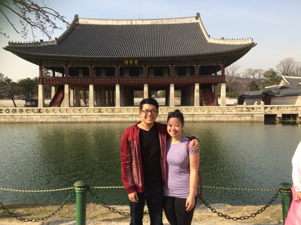 In front of the royal banquet hall