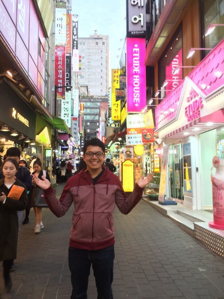 Tim posing in Myeongdong