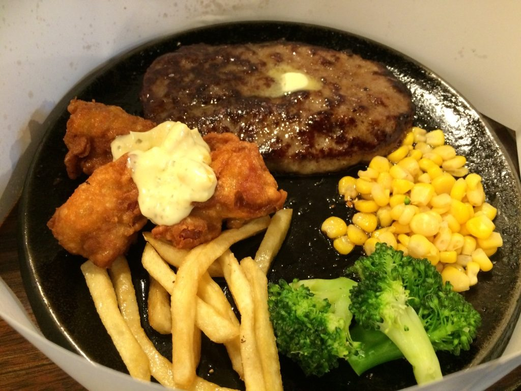Tim's hamburger steak with fried chicken. 930 JPY = $10.50 CAD