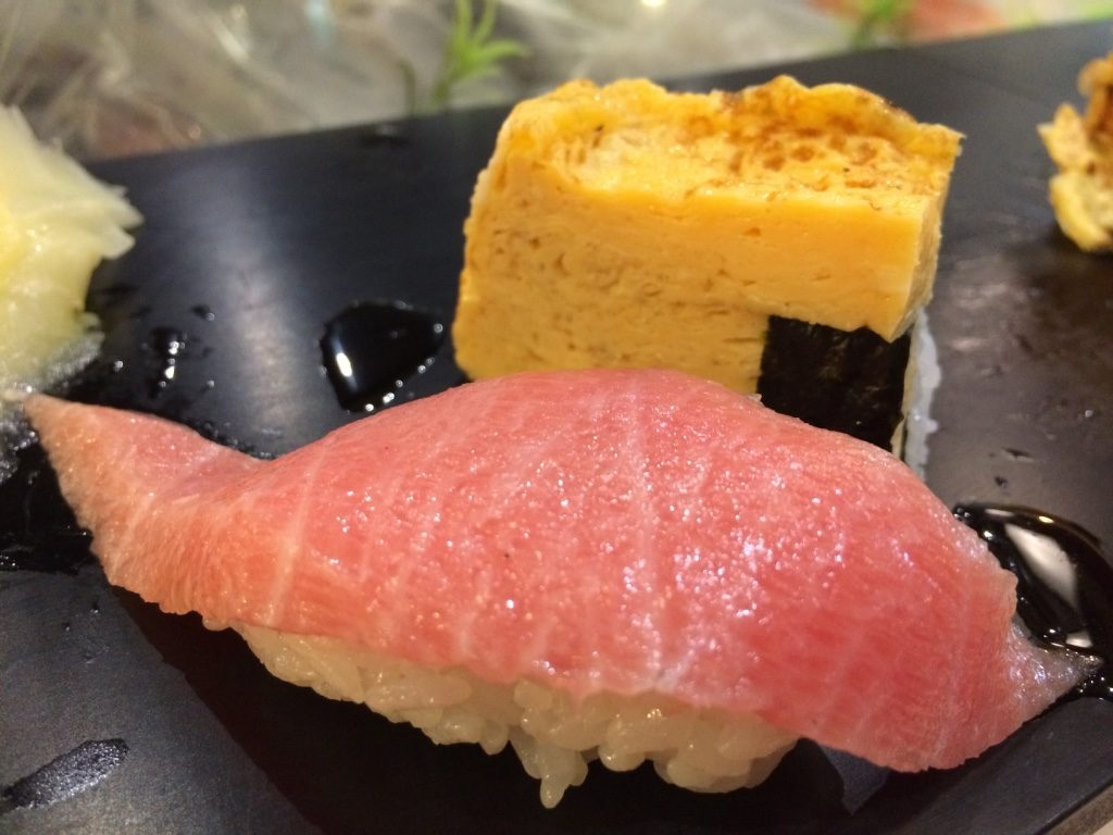Close up on the fatty tuna. My favourite along with tamago.