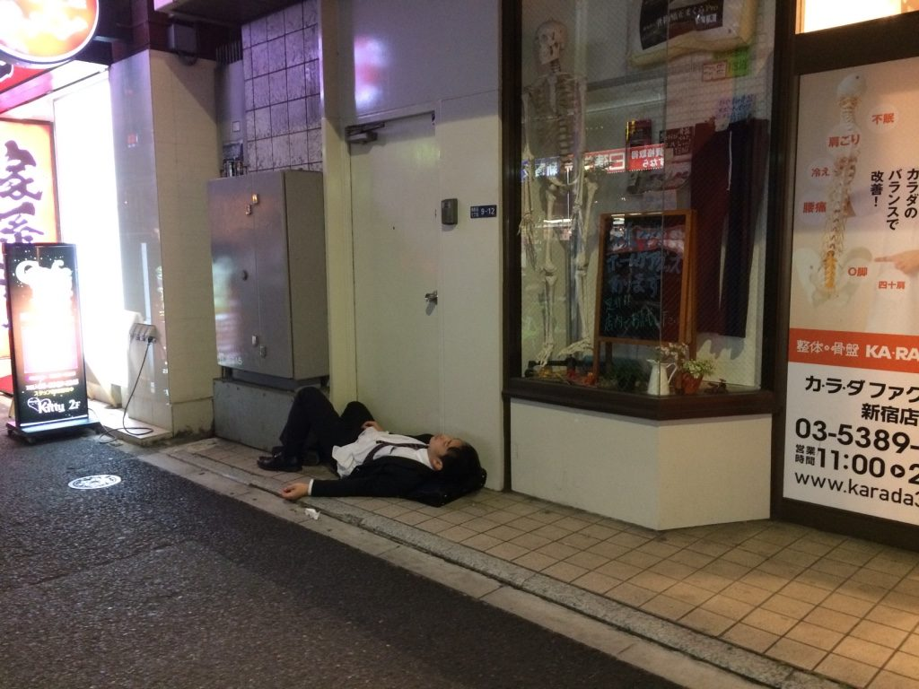 Not an uncommon sight in Tokyo on a Friday night