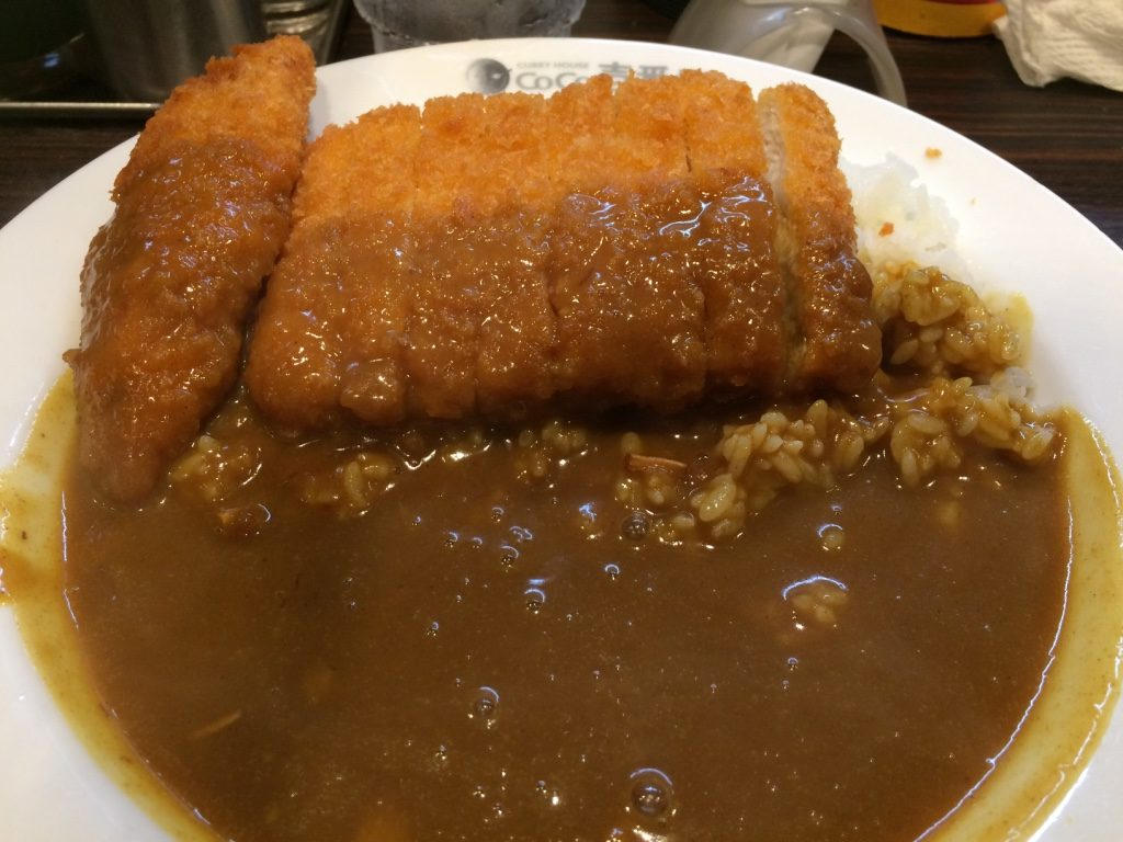Chicken Cutlet Curry with one piece of Tim's shrimp: 824 JPY =