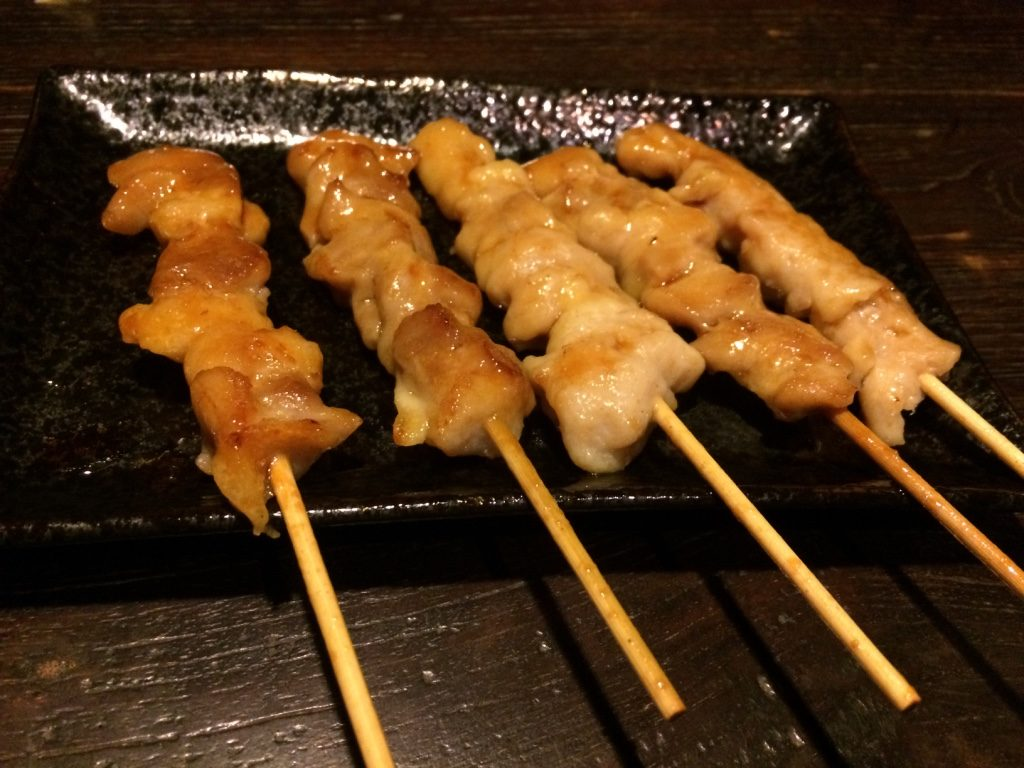 5 chicken skewers for 399 JPY = $4.50 CAD