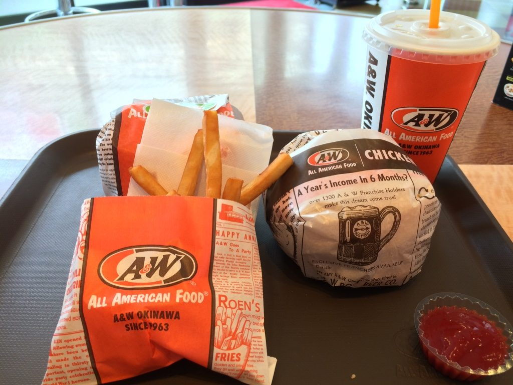 Teen burger, Chicken Burger, Root Beer and fries for