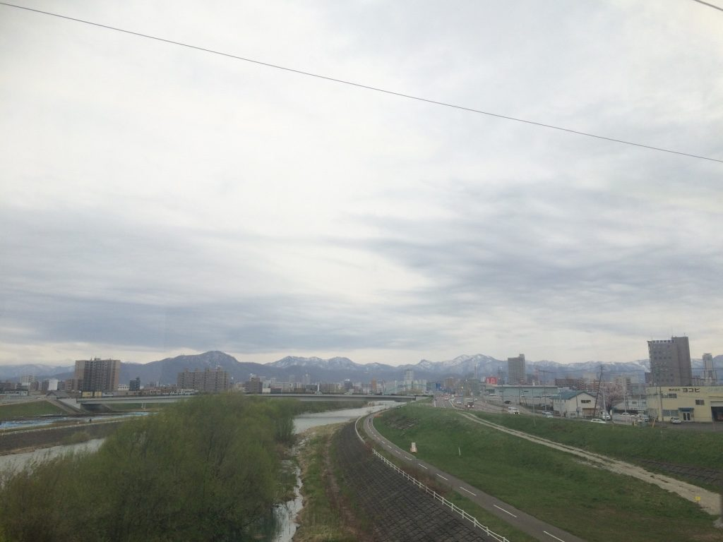 Tried to take some pictures of the mountains from the train into Sapporo