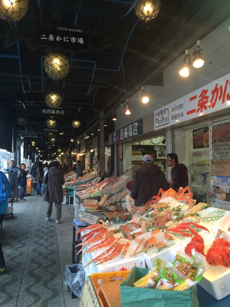 Vendors mostly selling king crab