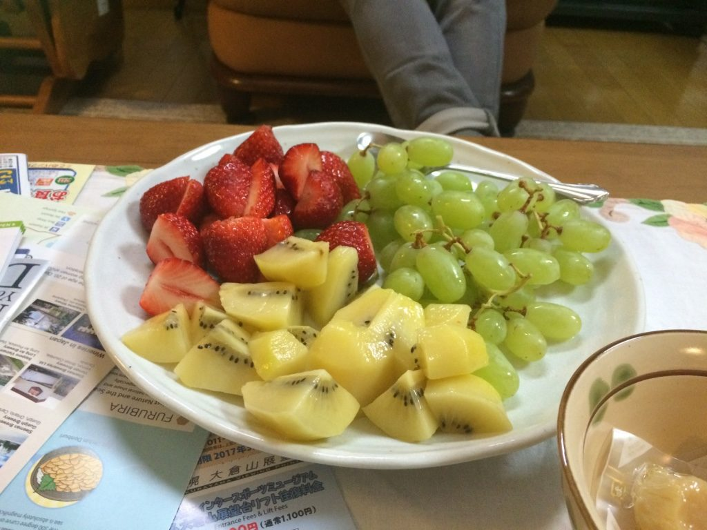 Yum! Freshly cut fruit.
