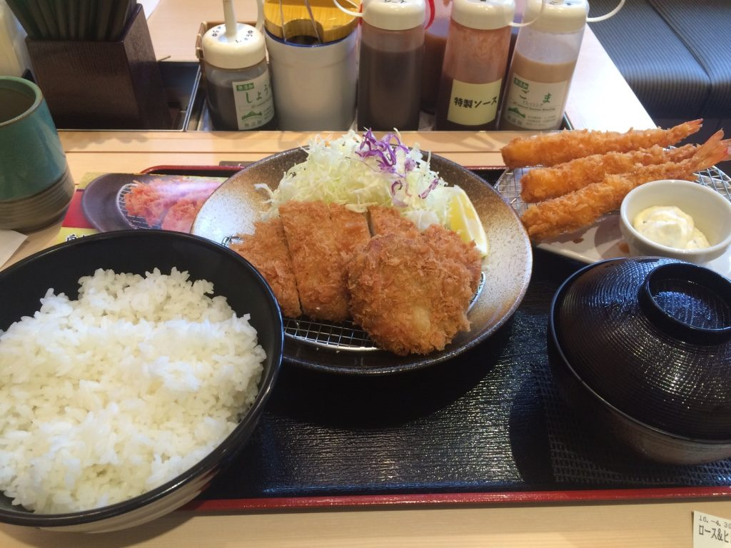 Tim's tonkatsu set (500 jPY = $5.90 CAD) with an extra order of ebi (490 JPY to $5.75 CAD)