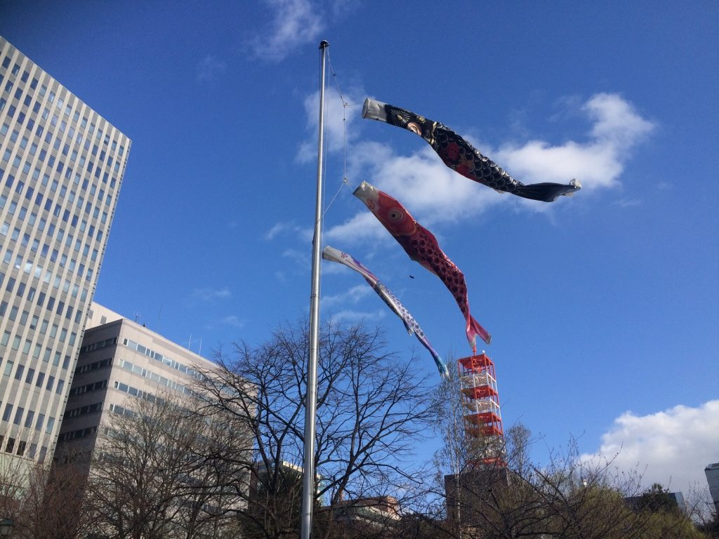 Carp flags outside the government building