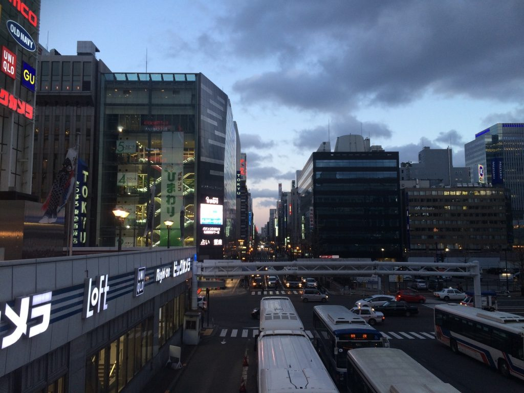 Can see the sunset through the buildings from Sapporo Station