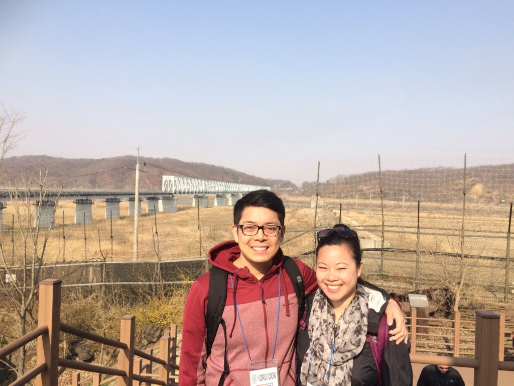 Us at Imjingak with North Korea 8km away behind us. The white bridge in the back is Freedom Bridge