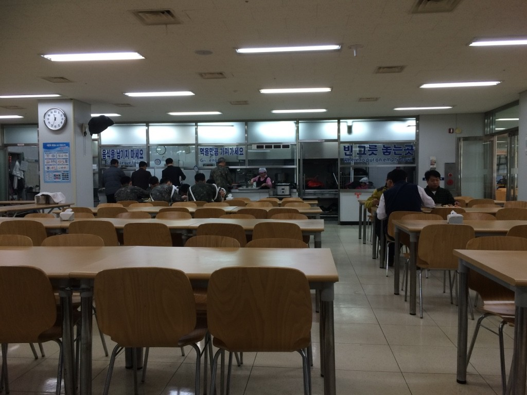 We ate lunch in the immigration office building with customs and military, cafeteria style