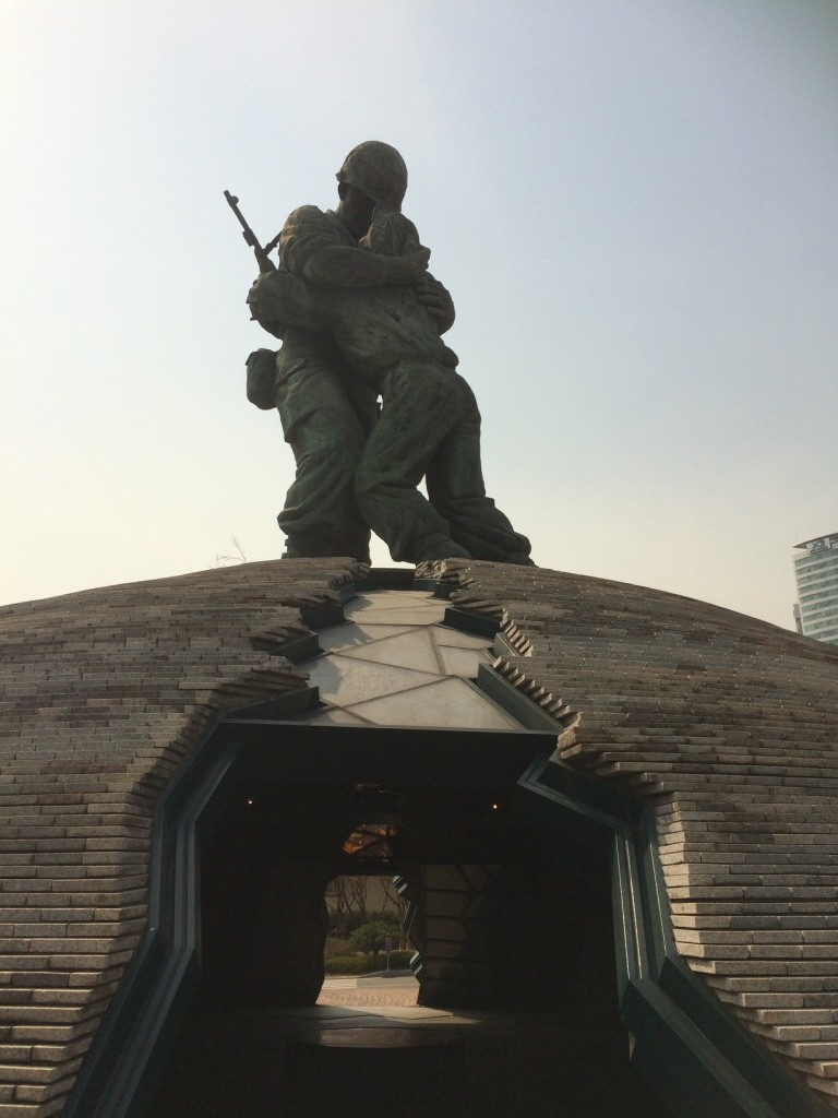 Statue of Brothers, is a symbol of the Korean War. It's a true story of two brothers fighting on different sides that see each other on the battlefield, embracing and expressing love and forgiveness