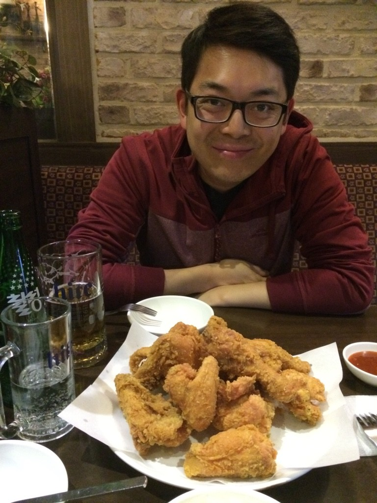 Our first place of Korean Fried Chicken at Chicken Mania (15,000 KRW = $17 CAD)