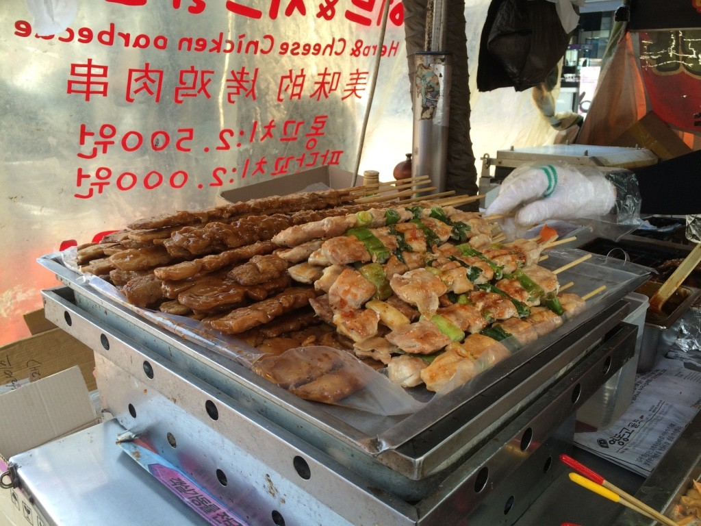 Two chicken skewers - one was 2000 KRW = $2.25 CAD and the other was 2500 KRW = $2.80 CAD