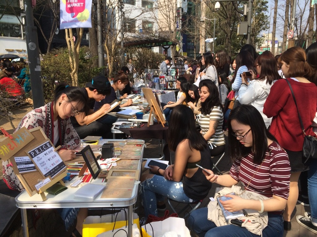 Every Saturday there's a free market for young artists to sell their goods at Hongik Children's Park
