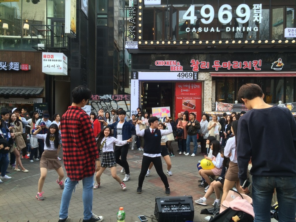 Street dancers. There were about 5 groups of different dancers with huge crowds around each