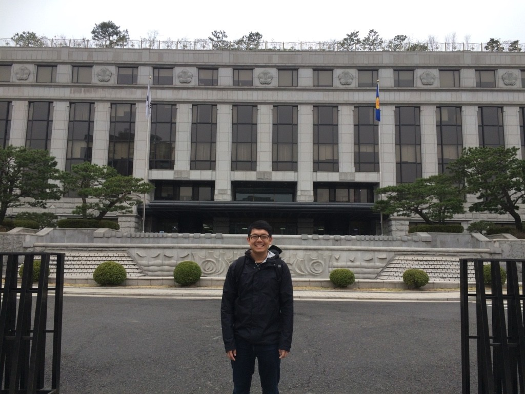 Tim in front of the Constitutional Court Korea