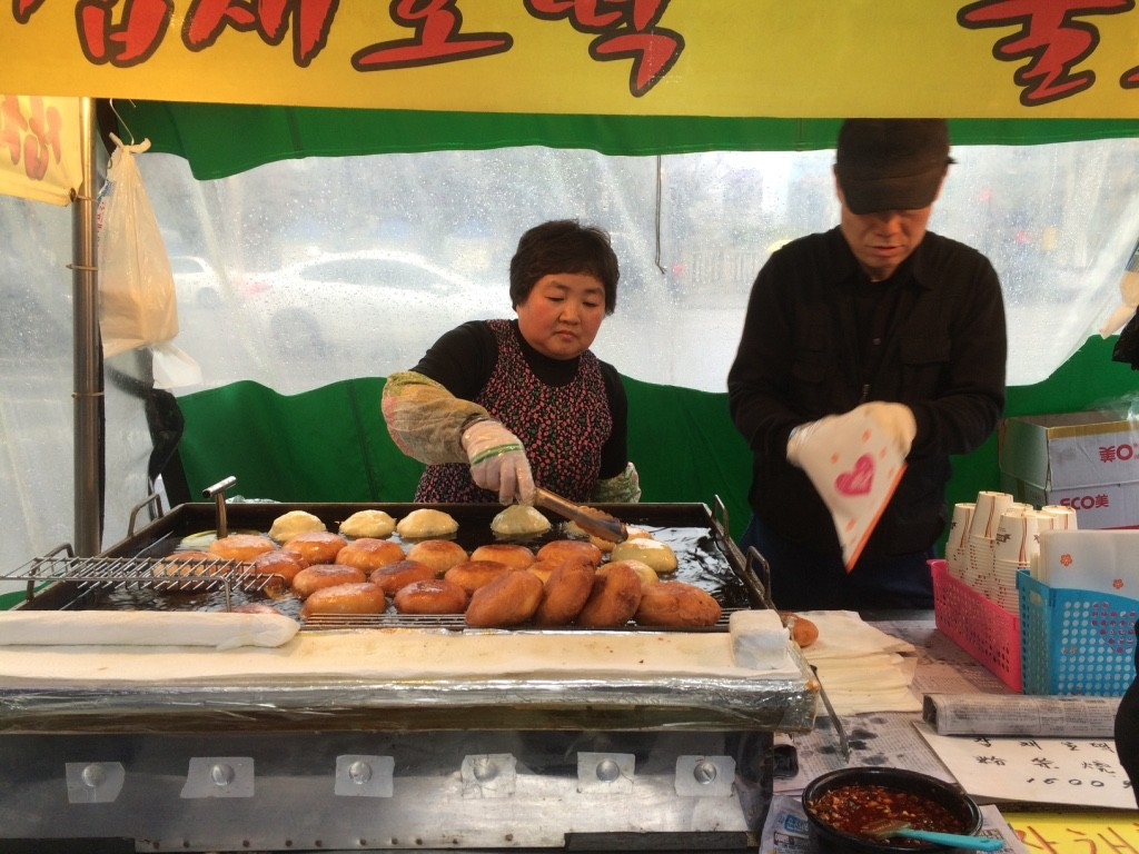 Fried dough with honey/nuts or japchae for 1000 KRW = $1.13 CAD or 1500 KRW = $1.70 CAD