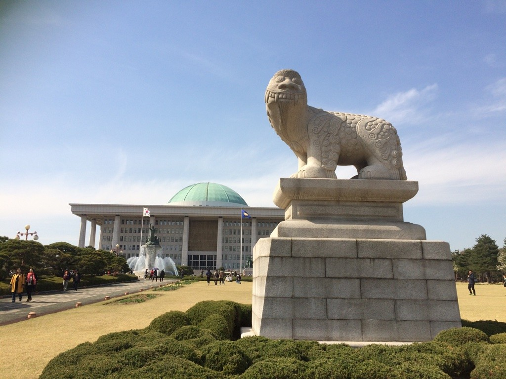Korean lion statues have a bit of a goofy grin on them
