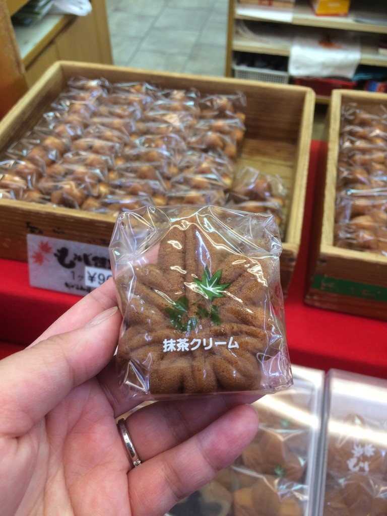 Momiji Manju: Cakes shaped in maple leaves and filled with red bean paste (traditionally). We got a green tea and custard. 90 JPY = $1.08 CAD