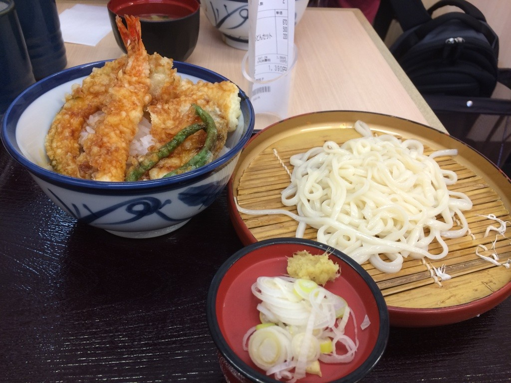 My lunch set, ten don (tempura on rice) with zaru udon (cold udon that you dip). 720 JPY = $8.60 CAD