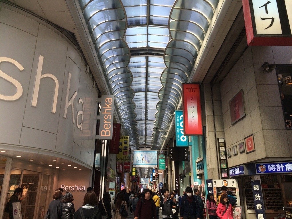 Shinsaibashi shopping area is all undercover and seems to go on forever