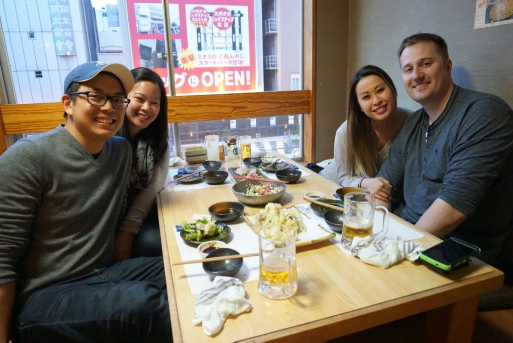 Dinner with Mable and Keith at an izakaya place in Dotonburi