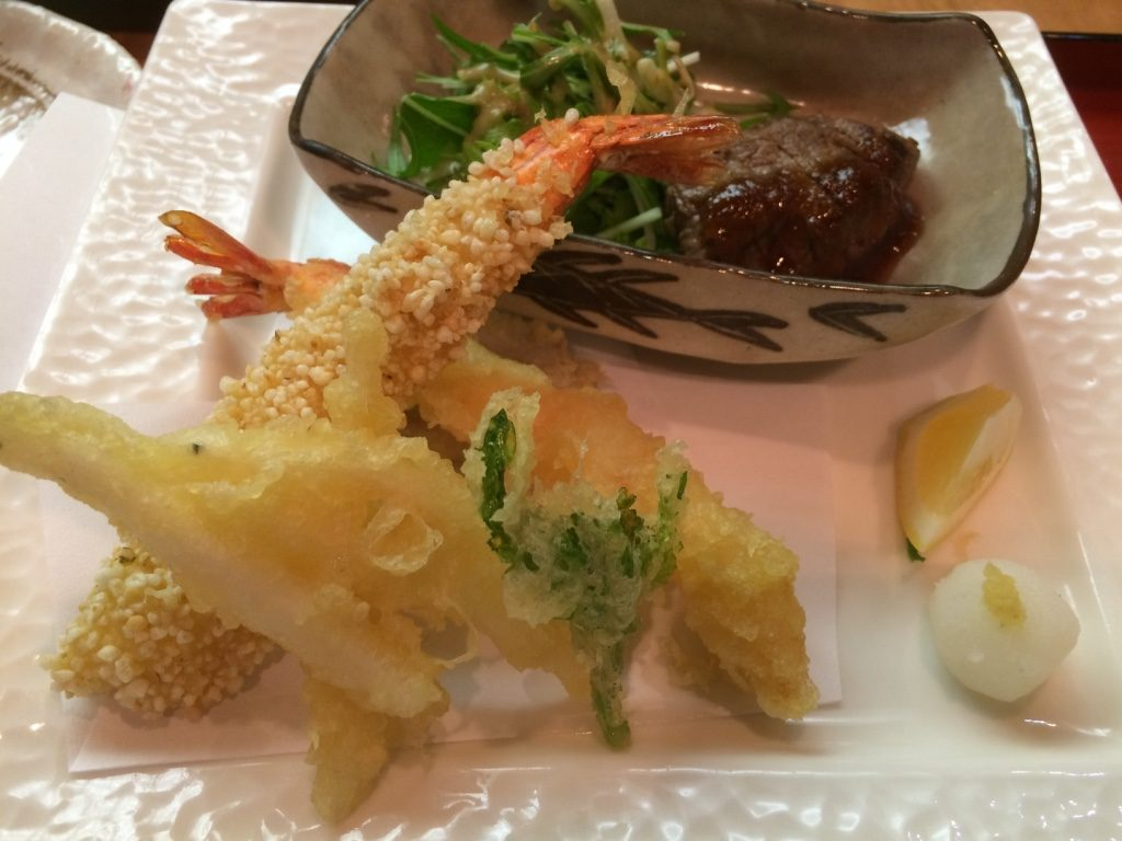 Third course: assorted tempura and very tender beef