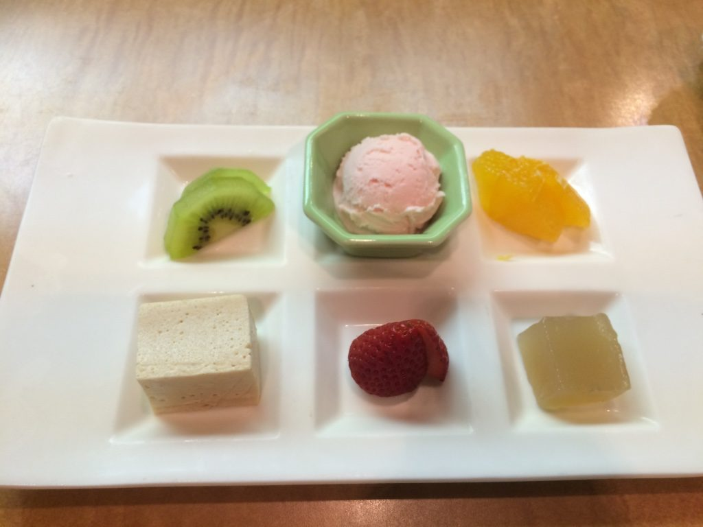 Dessert: sakura ice cream, a cinnamon custard thing, and mochi