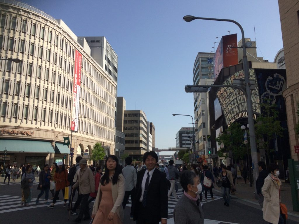 Walking through the more modern area of Kobe. A shopping area around the JR train station