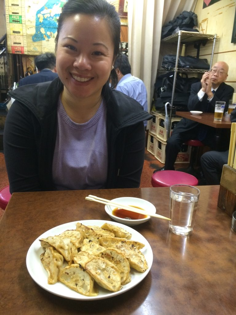 Gyozas at Hyotan. 7 per order for 370 JPY = $4.35 CAD. Minimum one order per person