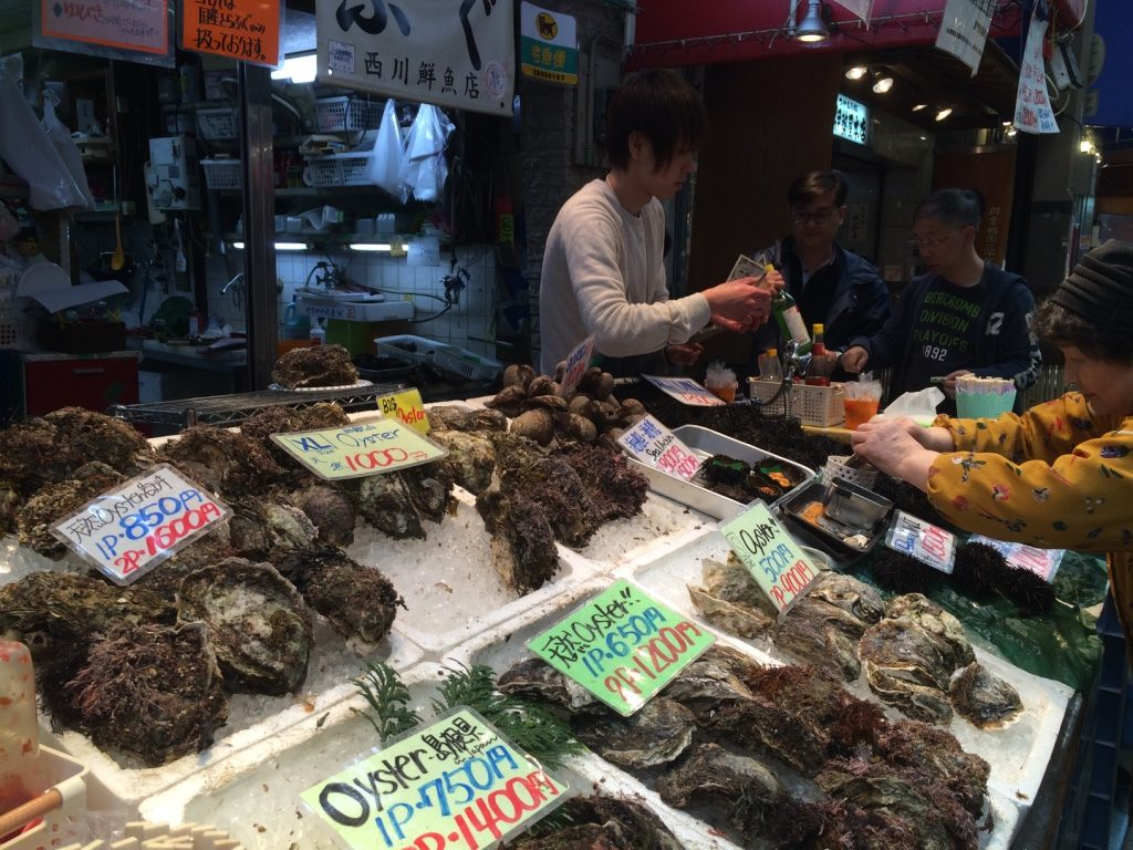 Seafood stalls where they were shucking huge oysters to eat raw. I like eating small oysters raw, not ones that are the size of half my face.