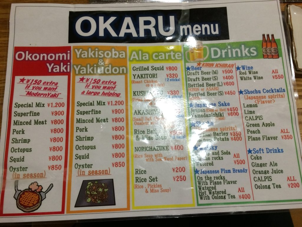 They had an English menu inside