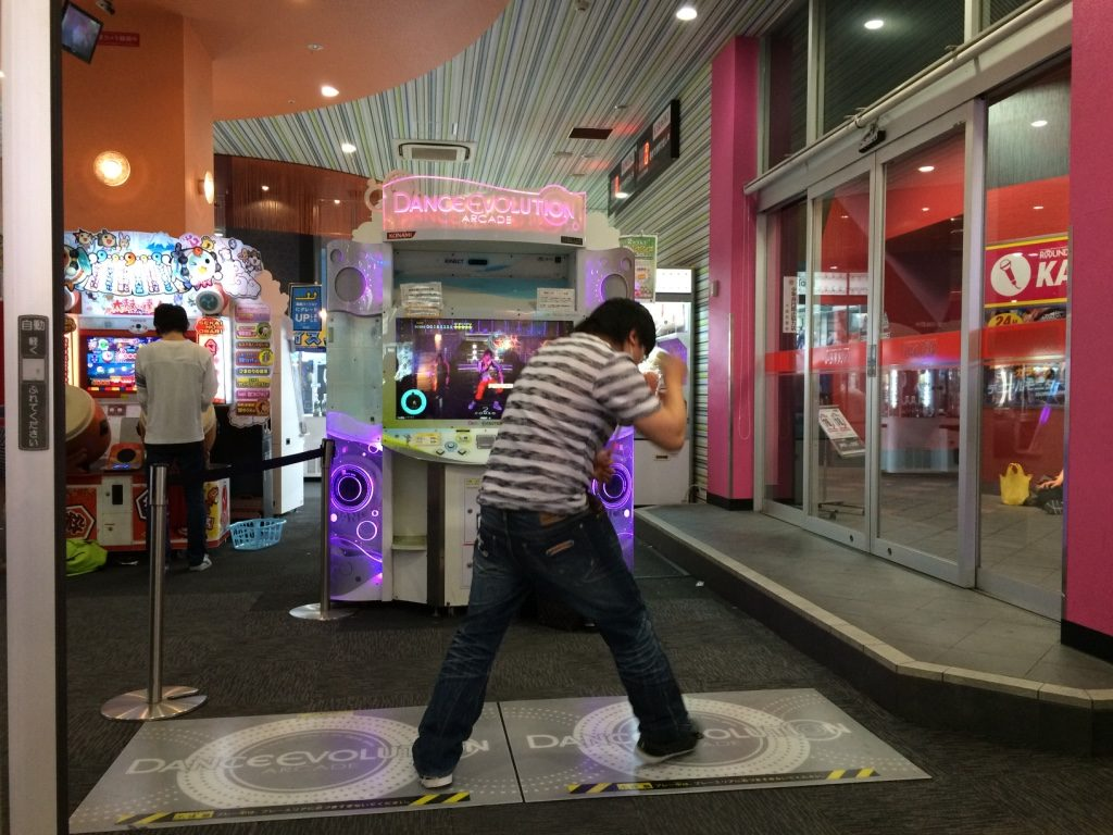 A guy on the DDR machine